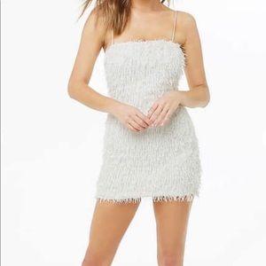 White fringe mini dress
